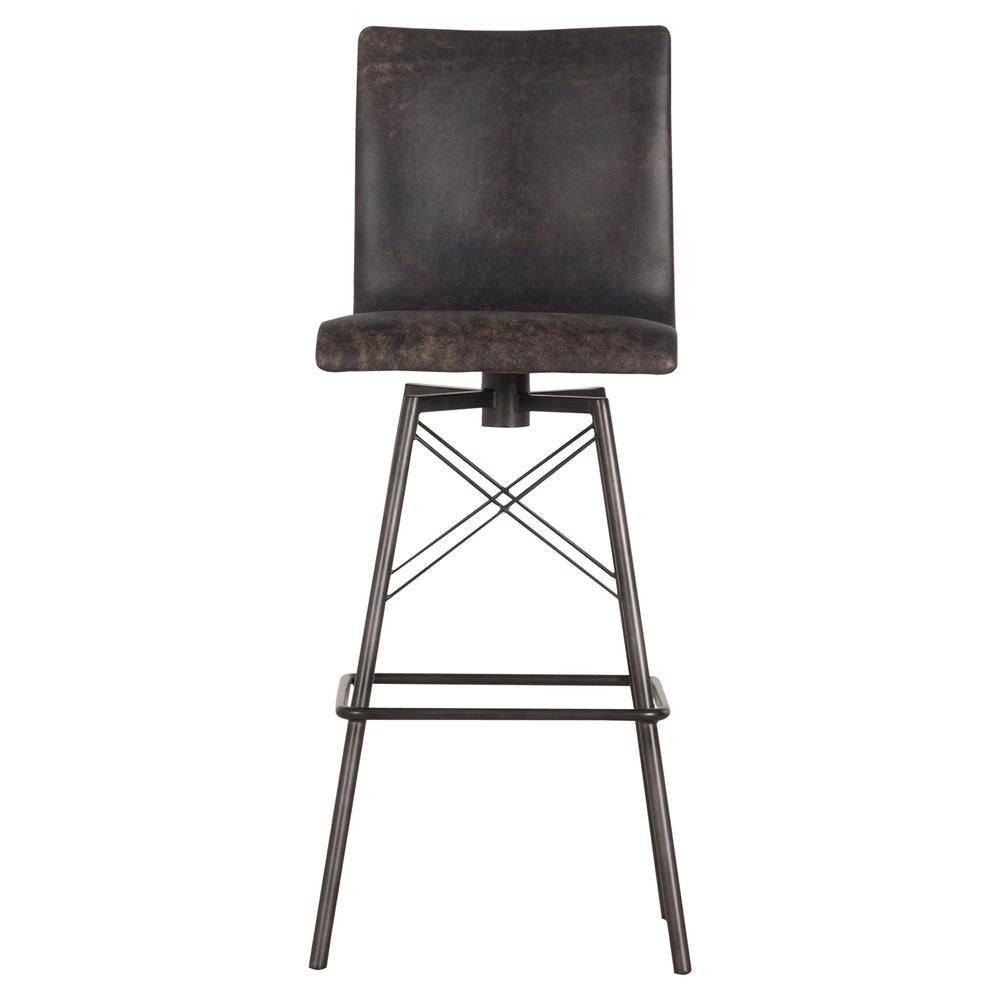 Sindric Industrial Loft Black Leather Swivel Iron Counter