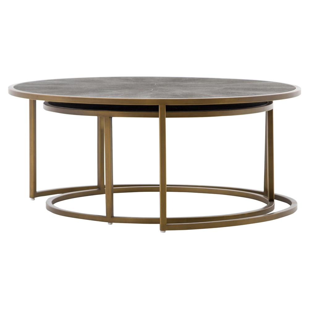 Massey Modern Regency Antique Brass Shagreen Round Nesting Coffee Table Kathy Kuo Home