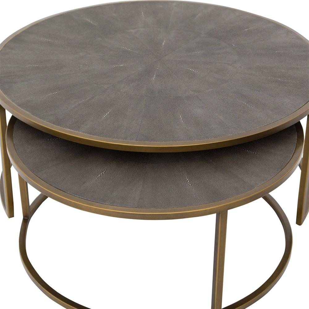 massey modern regency antique brass shagreen round nesting coffee table. Black Bedroom Furniture Sets. Home Design Ideas