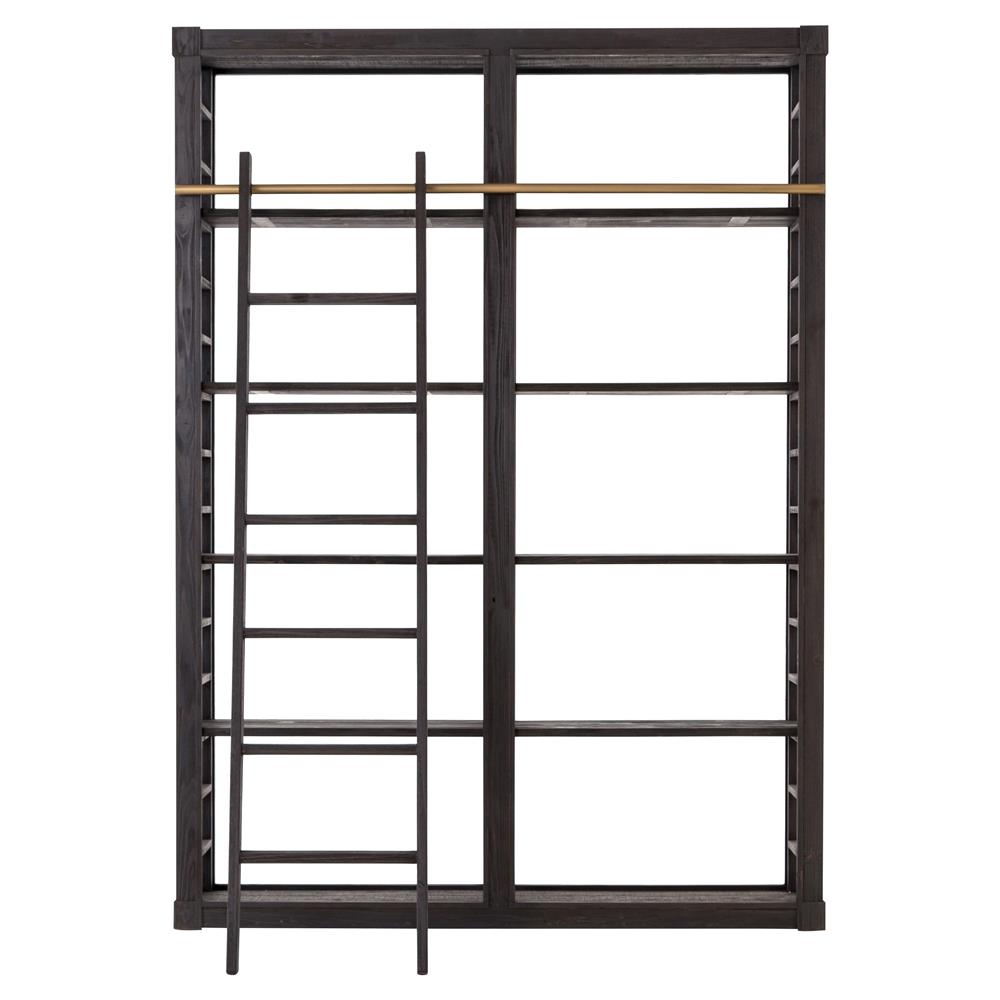 Sharon Modern Classic Black Wood 10 Shelf Ladder Open Back