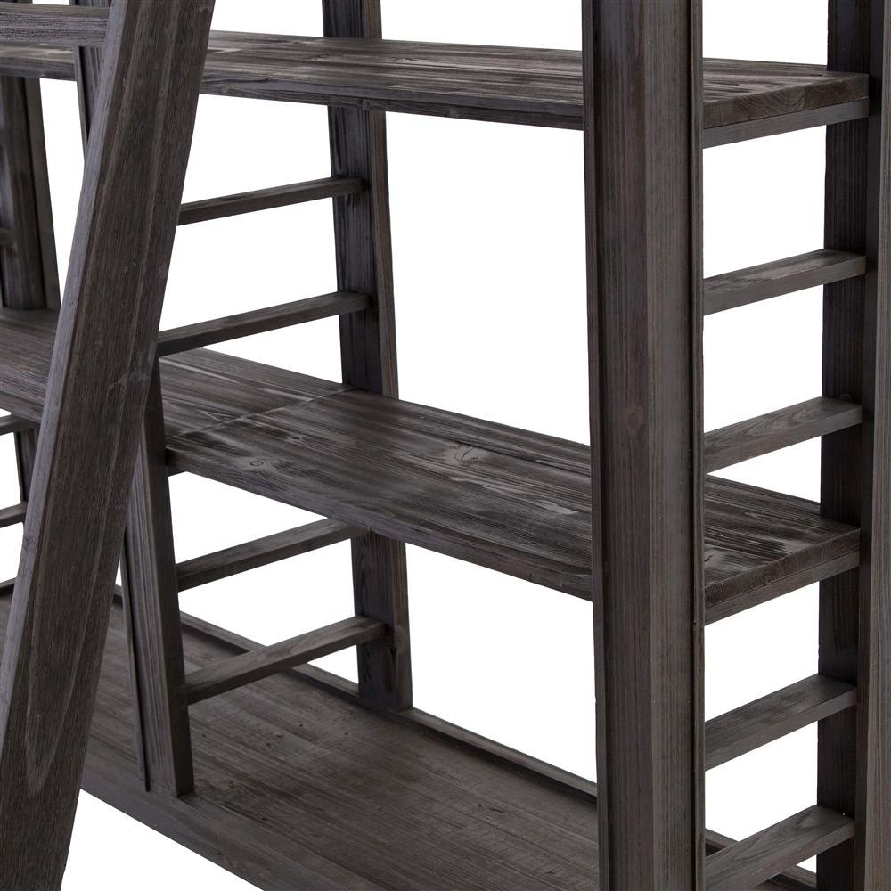 Sharon Modern Clic Black Wood 10 Shelf Ladder Open Back Bookcase Kathy Kuo Home