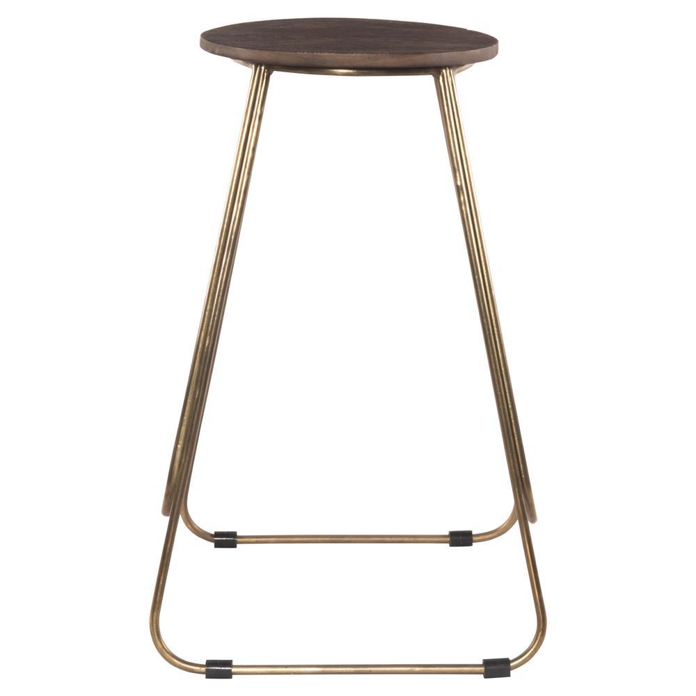 welton industrial modern antiqued brass wood counter bar stool