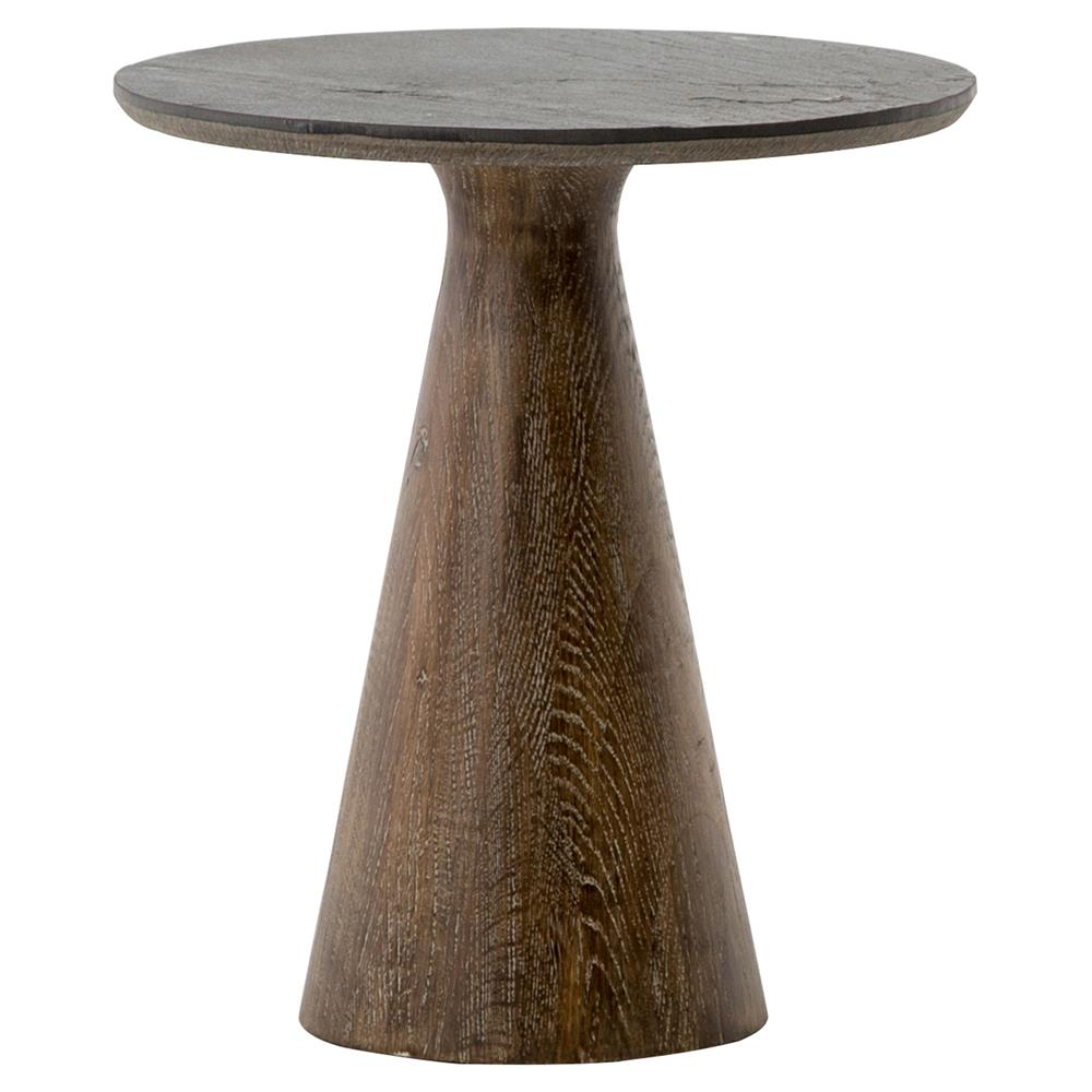 rankin rustic loft stone top reclaimed wood round pedestal end table. Black Bedroom Furniture Sets. Home Design Ideas