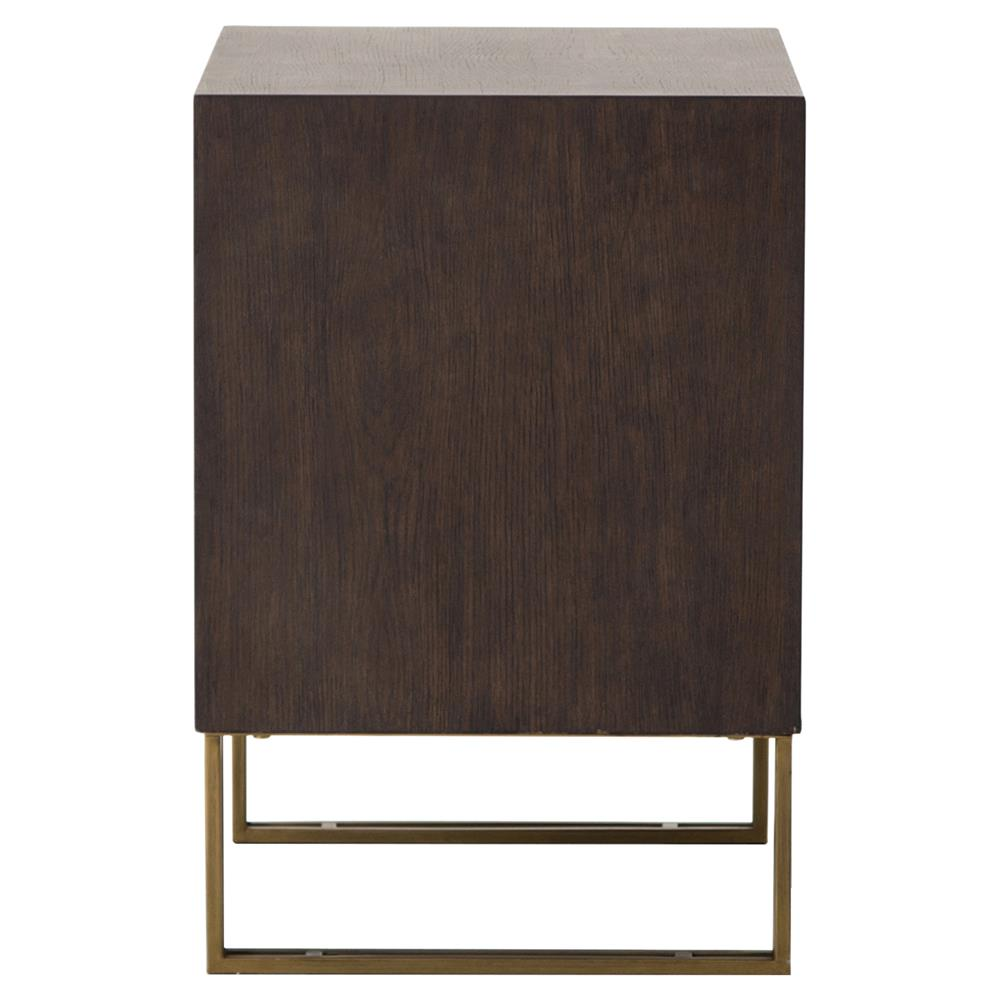 Kurland Modern Rustic Dark Oak Brass 2 Drawer Nightstand