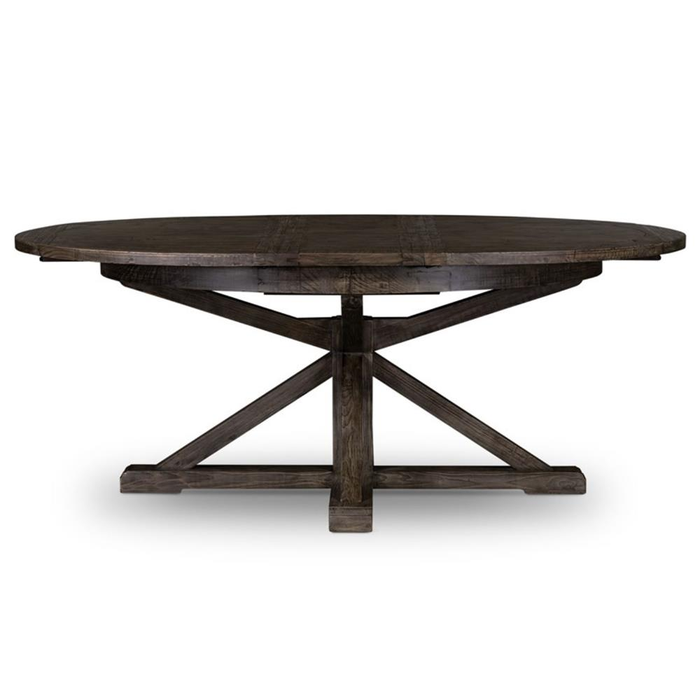Wood Round Dining Table: Chabert French Reclaimed Wood Extendable Round Dining