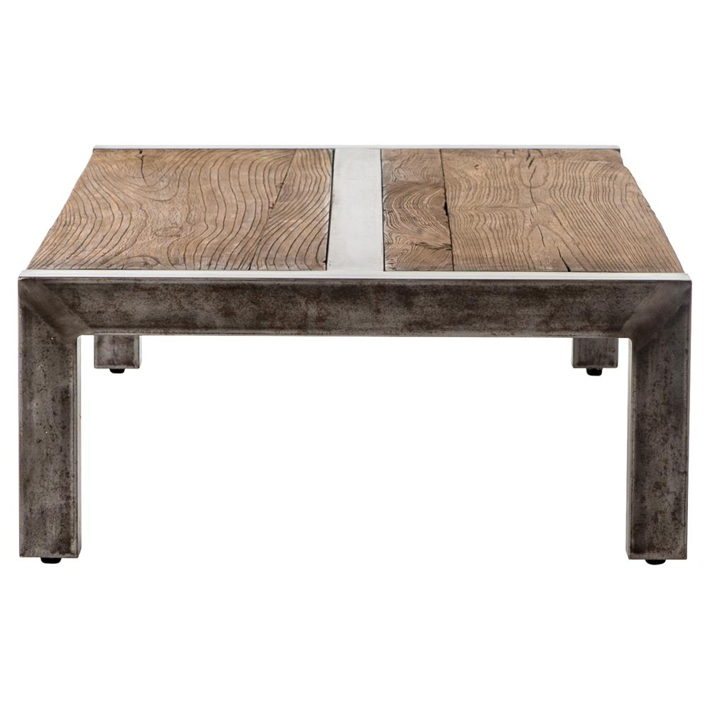 Iveson Industrial Loft Reclaimed Wood Silver Iron Coffee Table Kathy Kuo Home