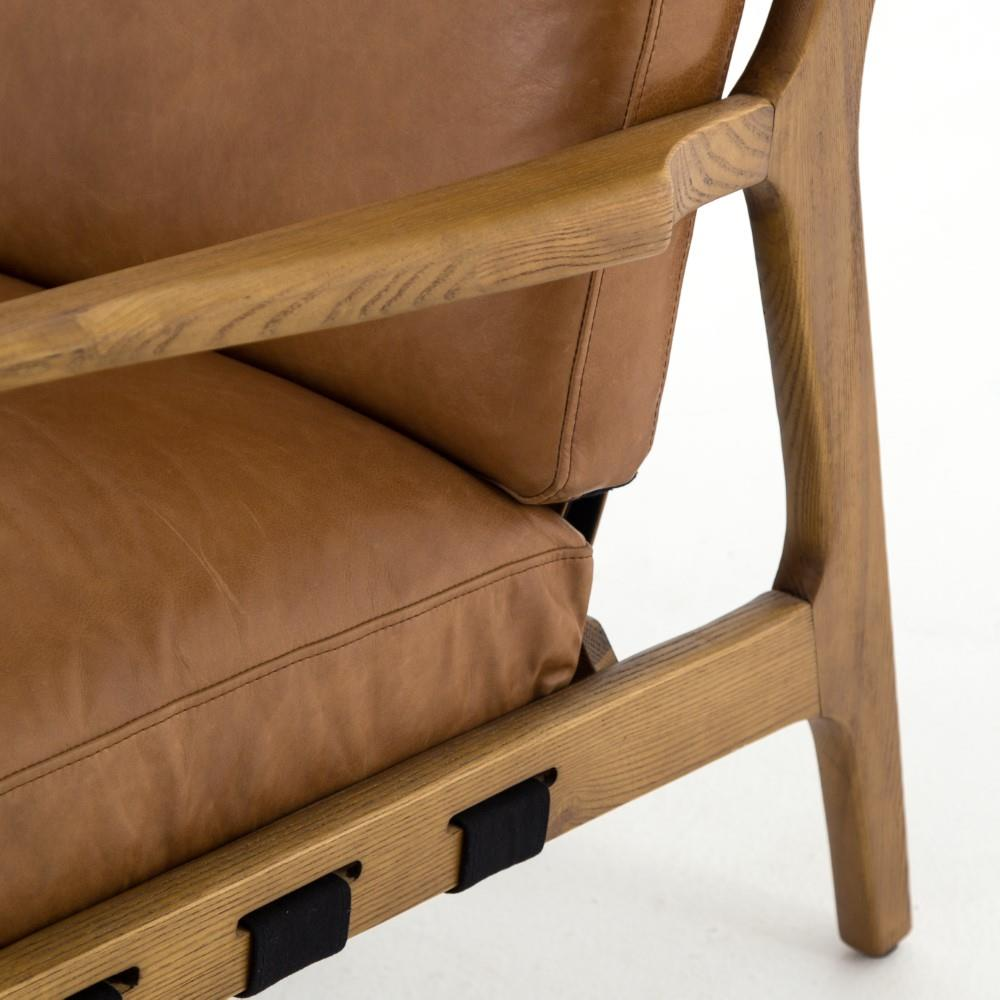 Bryna Rustic Lodge Tan Leather Cushioned Wood Arm Chair ...