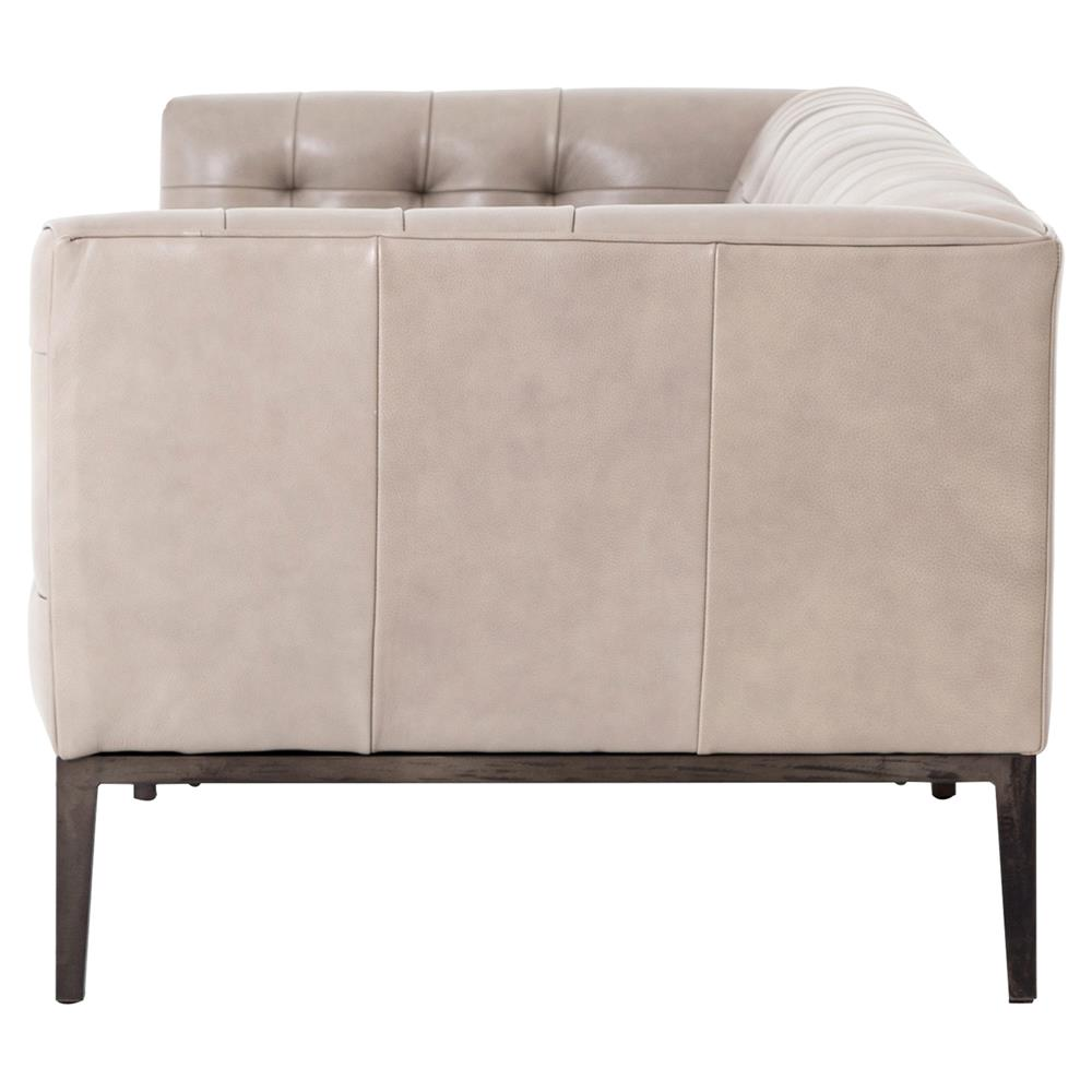 Merveilleux ... Springfield Modern Classic Stone Beige Leather Tufted Low Back Sofa |  Kathy Kuo Home ...
