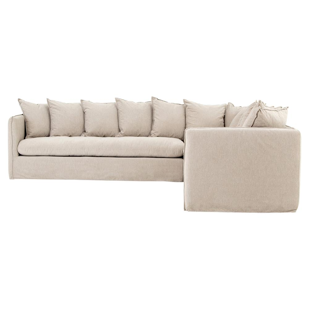Romy Modern French Country Beige Slipcover Pillow Back