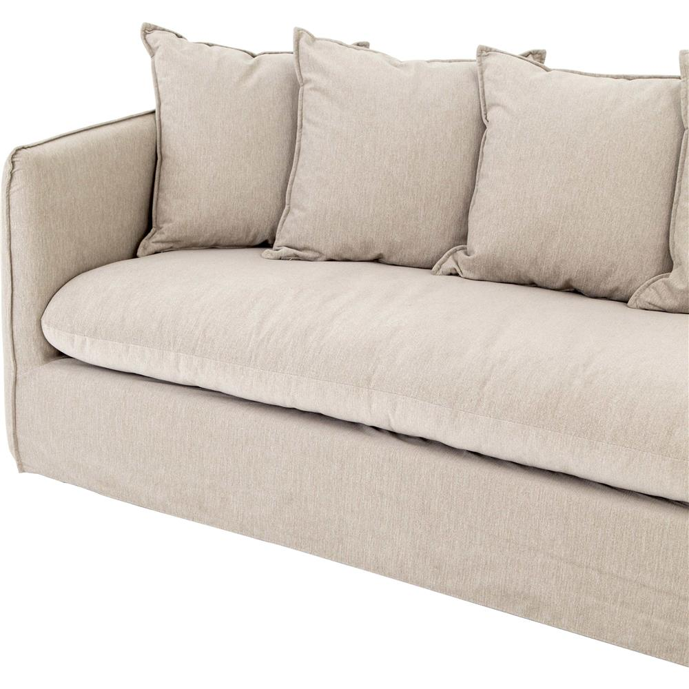 Romy Modern French Country Beige Slipcover Pillow Back Sectional Sofa Kathy Kuo Home