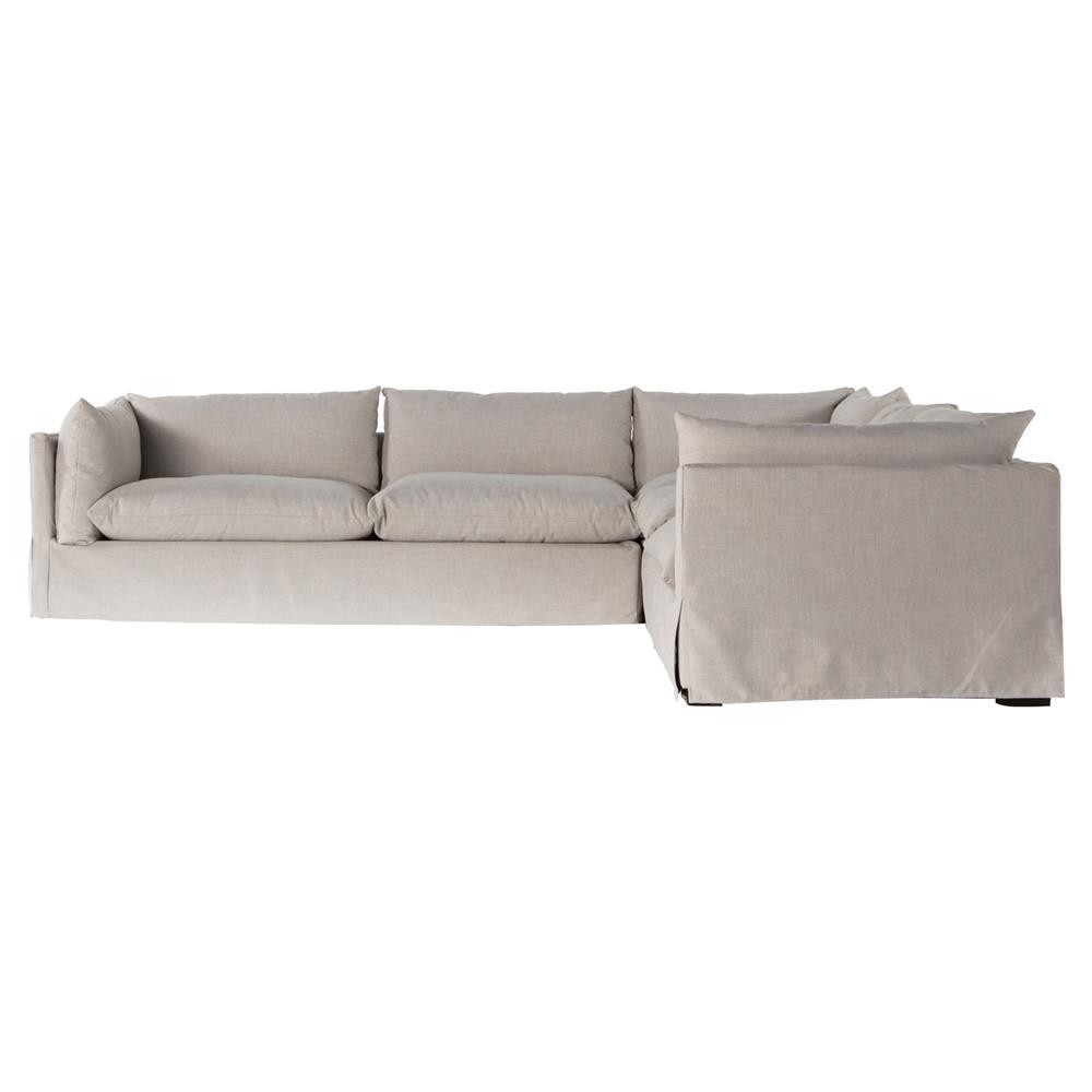 Modern Sectional Sofas Grey: Barrows Modern Classic Grey Beige Cushion Back Slipcover