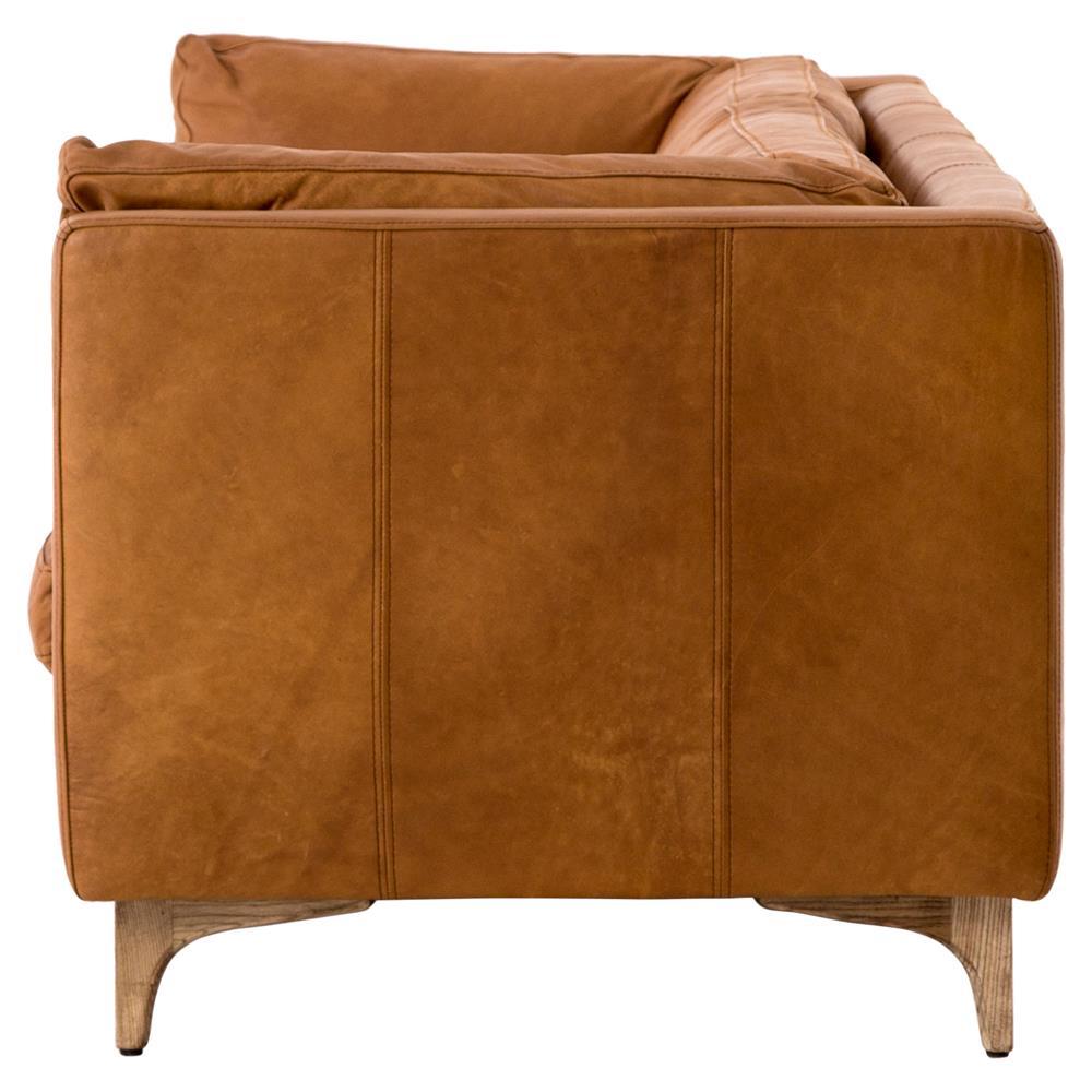 Davenport Mid Century Modern Camel Leather Cushion Back Sofa   Kathy Kuo  Home