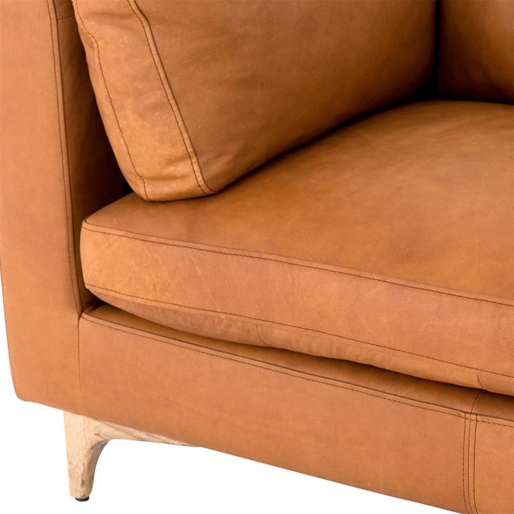 Mid Century Modern Bonded Leather Living Room Sofa Camel: Davenport Mid Century Modern Tan Leather Cushion Back Sofa