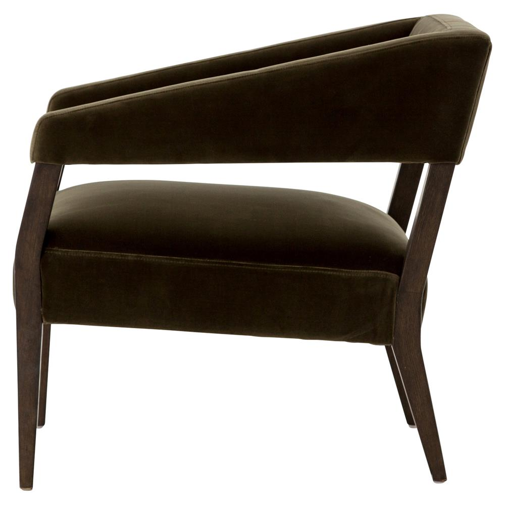 ... Oscar Mid Century Modern Olive Green Velvet Brown Oak Club Lounge Accent  Chair | Kathy Kuo ...