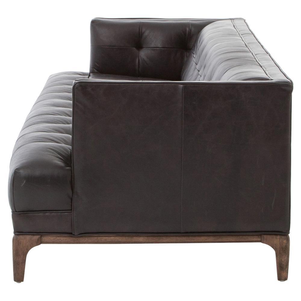 Allen Mid Century Modern Classic Tufted Black Leather Low