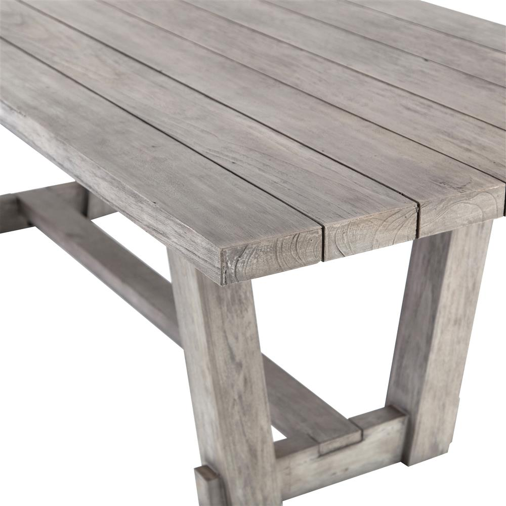 Dennison Modern Rustic Grey Teak Wood Outdoor Dining Table | Kathy Kuo Home