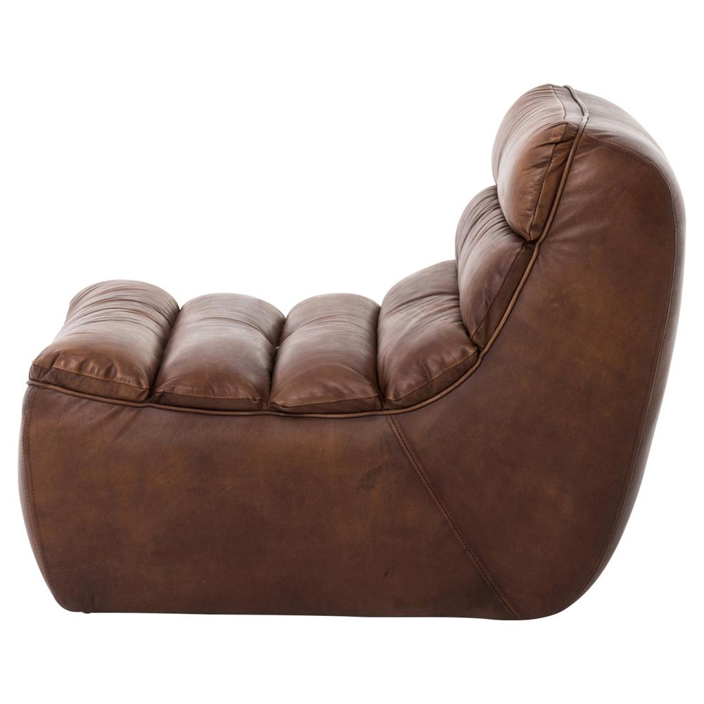 Lammerley rustic lodge brown leather channel back chaise for Brown leather chaise