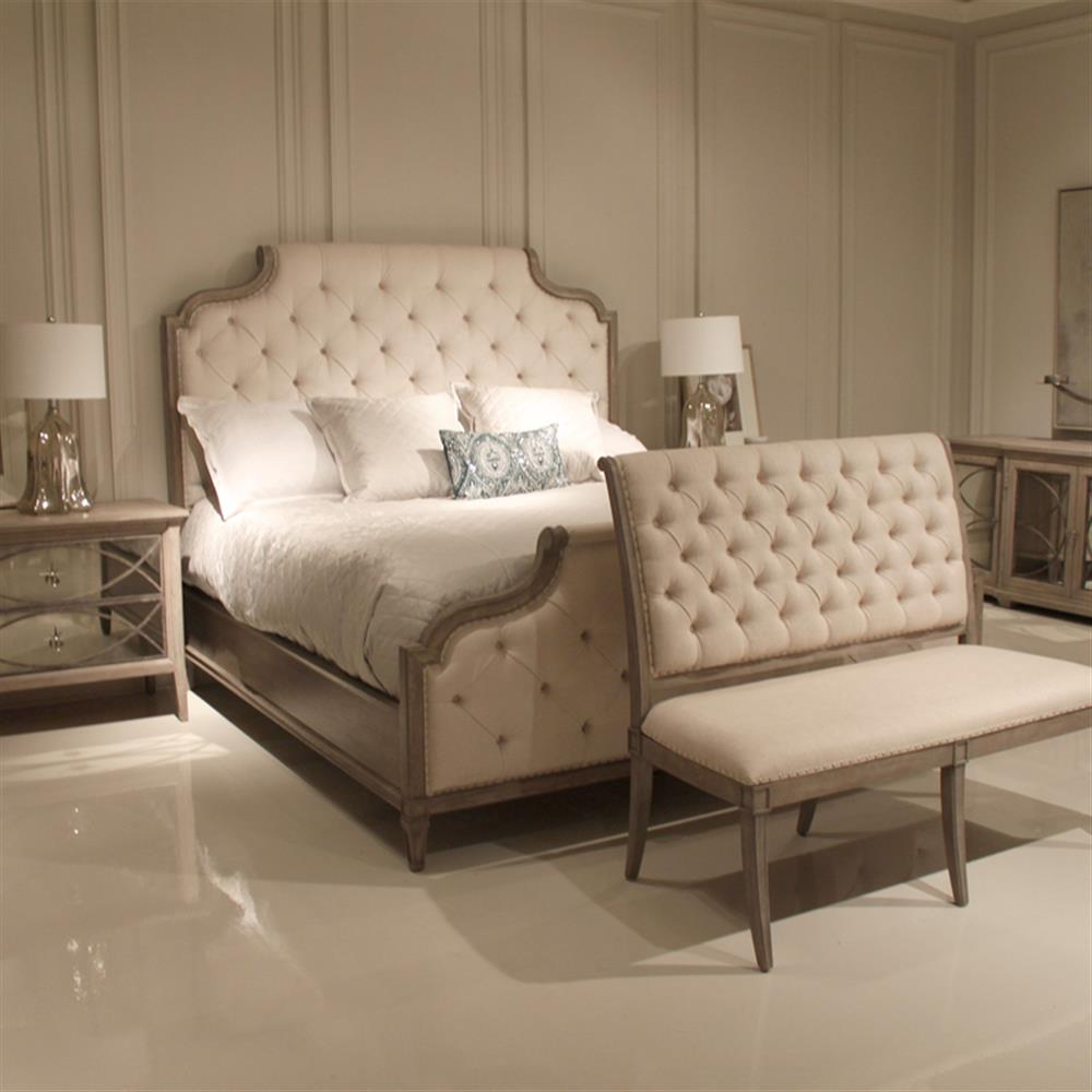 michaela french country white button tufted upholstered bed king. Black Bedroom Furniture Sets. Home Design Ideas