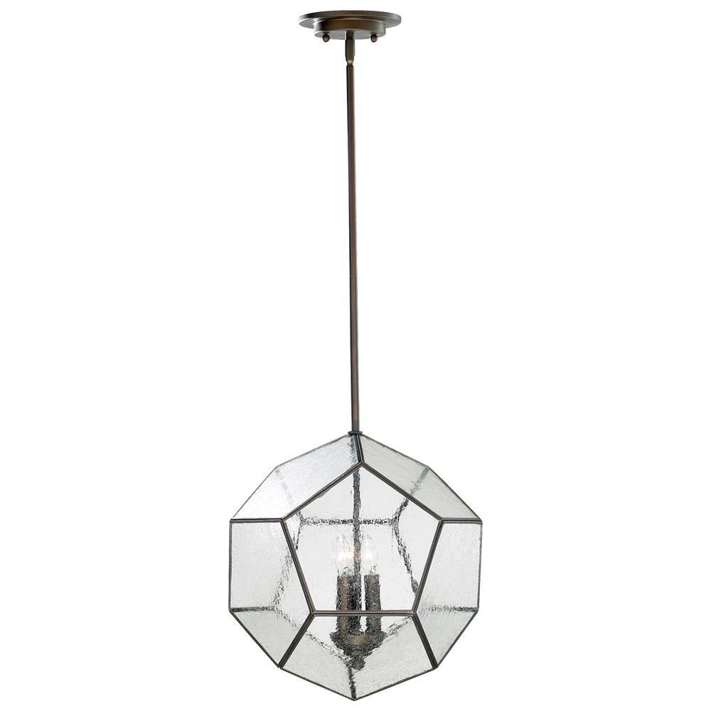 Antique bronze modern seeded glass pentagon pendant light for Antique pendant light fixtures