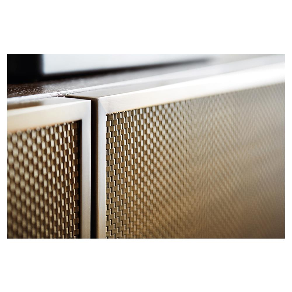 ... Portia Hollywood Regency Walnut Stainless Steel Inset Mesh 4 Door Media  Cabinet | Kathy Kuo Home