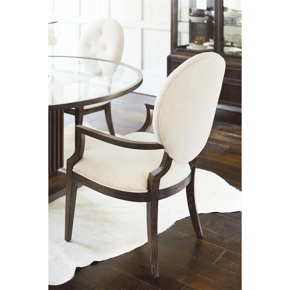 Clarke modern classic oval back ivory upholstered dining for Modern upholstered dining room chairs