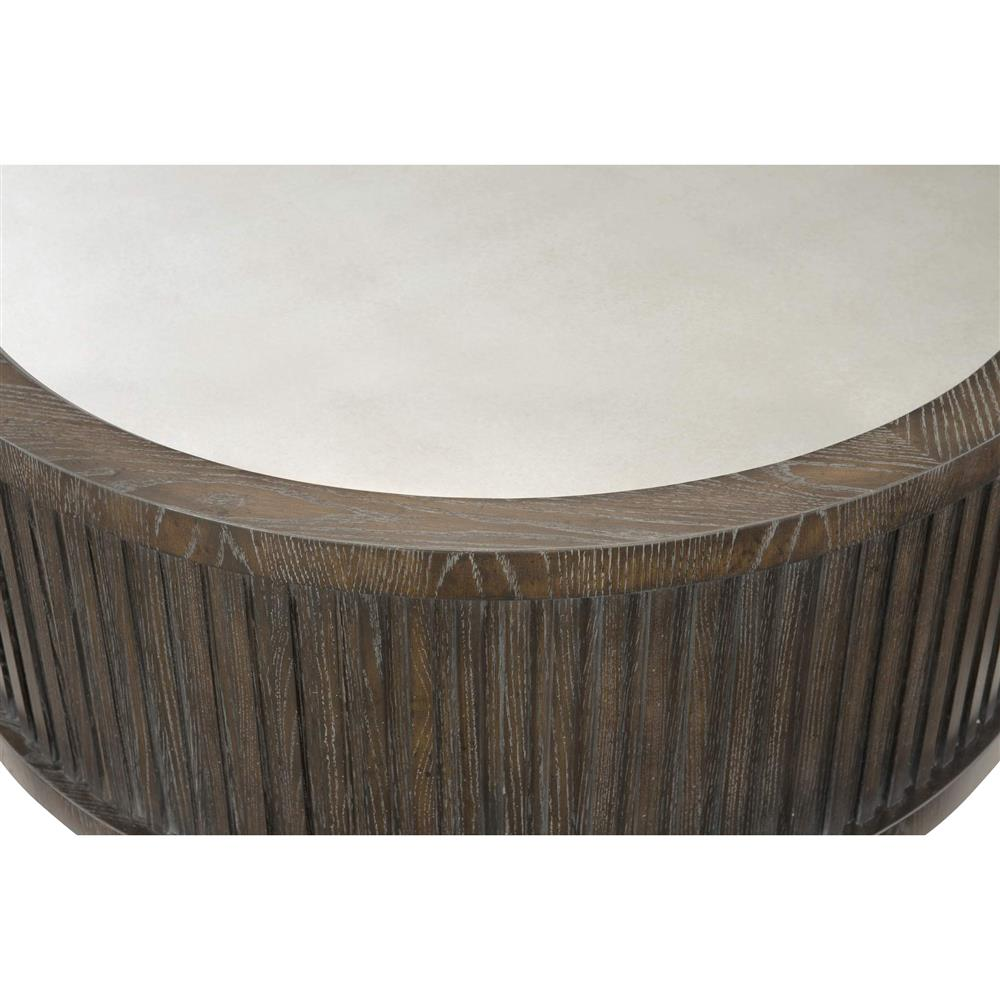 Clarke Modern Classic Dark Wood Mirrored Top Round Coffee Table Kathy Kuo Home