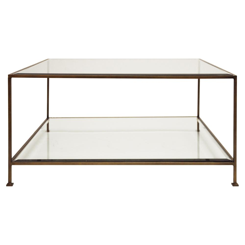 Bronze And Glass Coffee Table: Cabot Hollywood Regency Bronze Glass Coffee Table