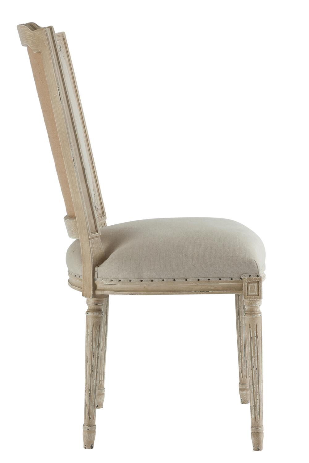 Pair Ethan French Country Grey Beige Linen Dining Chair   Kathy ...