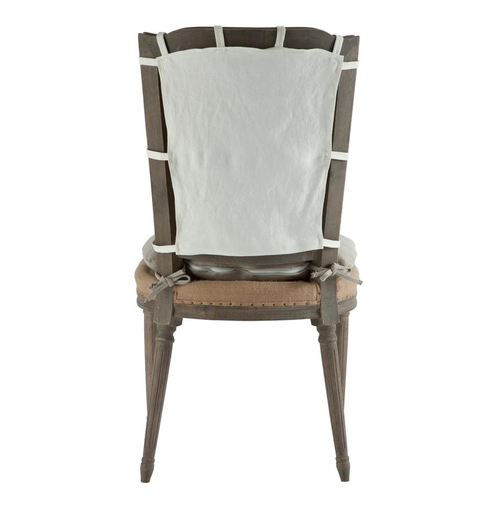 Pair french country weathered gray dining chair with slip cover