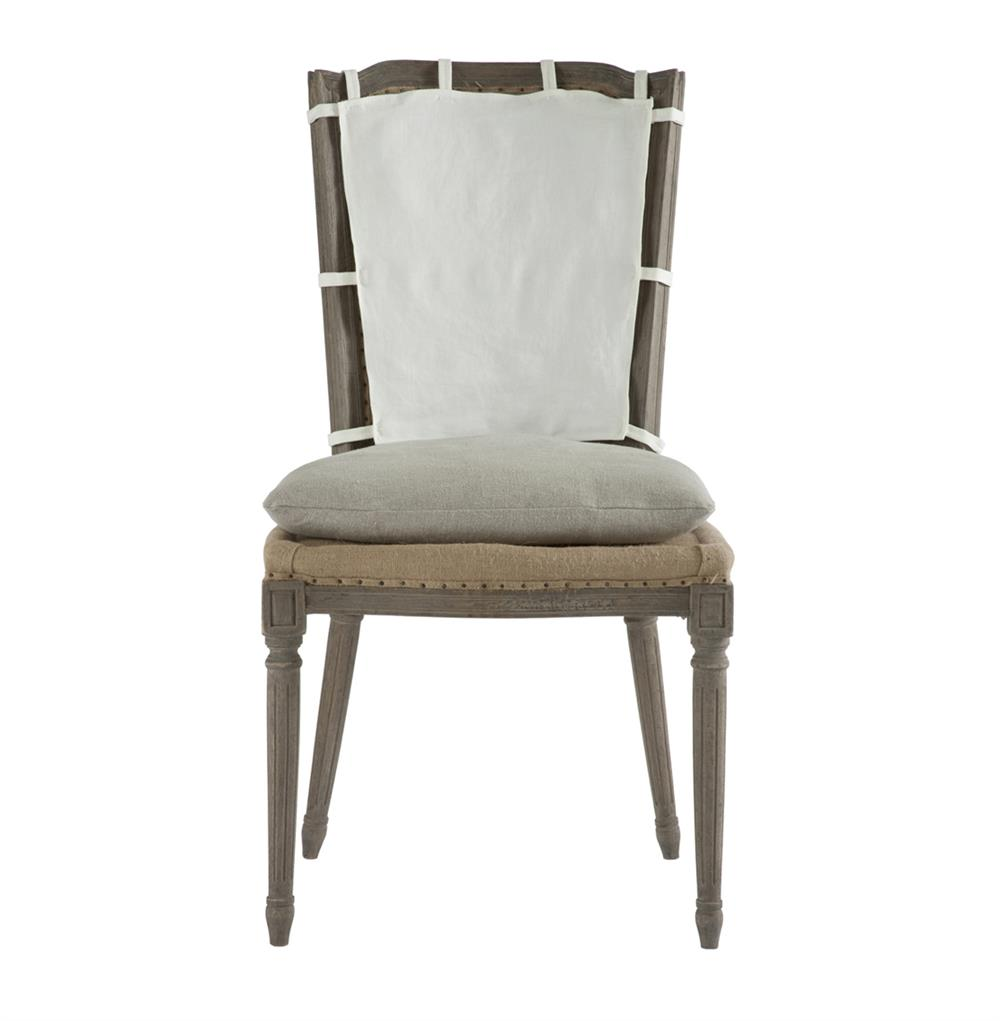 Pair French Country Weathered Gray Dining Chair With Slip
