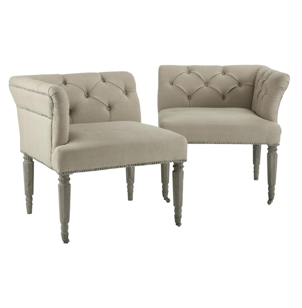 Calais French Country Tufted Split Loveseat Settee Kathy