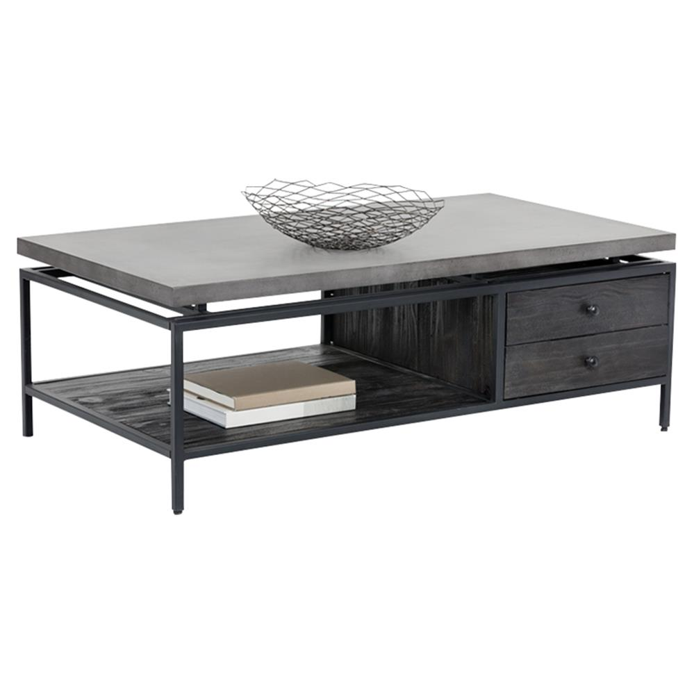 Jaxton Industrial Loft Grey Concrete Rectangular Storage Coffee Table Kathy Kuo Home