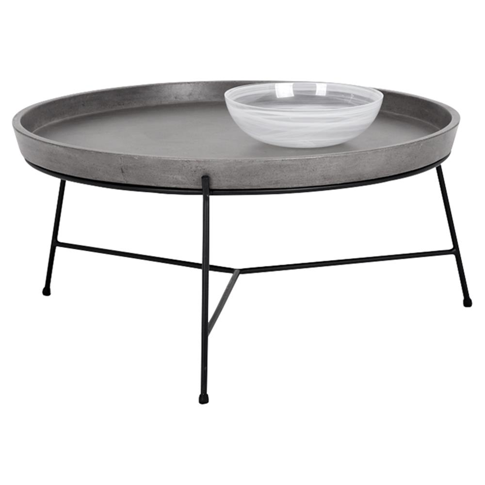 Loomis Industrial Loft Round Concrete Tray Top Black Metal