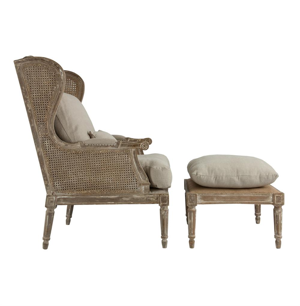 Wing chair with ottoman - Stephen Hemp French Country Wing Back Chair With Ottoman Kathy Kuo Home