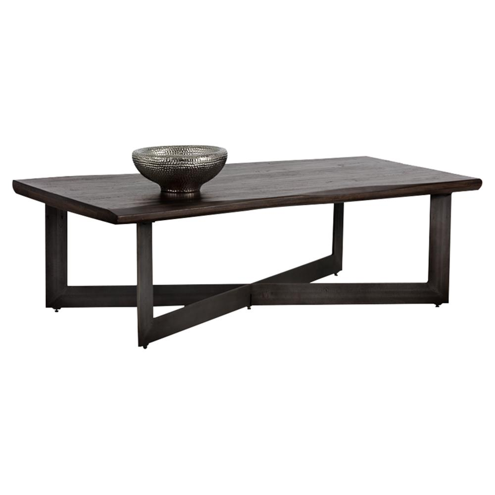 Rawley Rustic Loft Walnut Brown Wood Iron Rectangular X Frame Coffee Table Kathy Kuo Home
