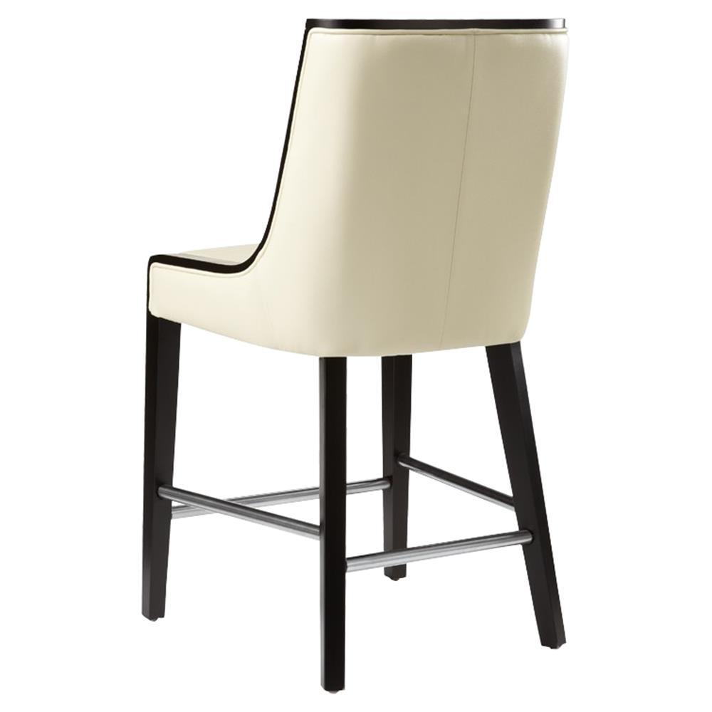 Franca Modern Classic Cream Leather Black Wood High Back Counter Stool
