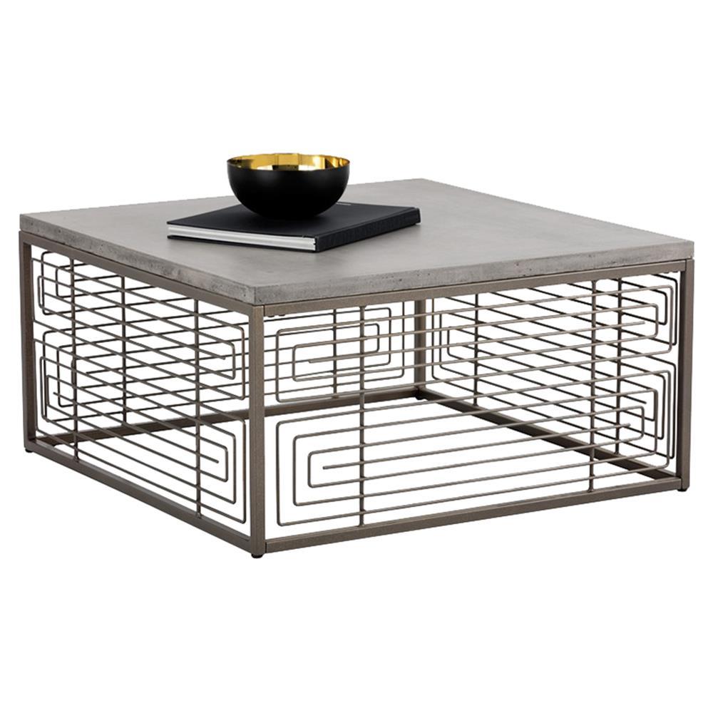Bronze Industrial Coffee Table: Davison Industrial Concrete Antique Bronze Square Cage