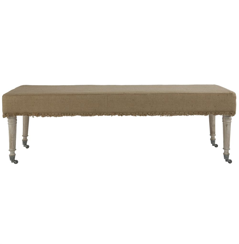 Alfreda French Country 55 L Burlap Bleached Wood Bench