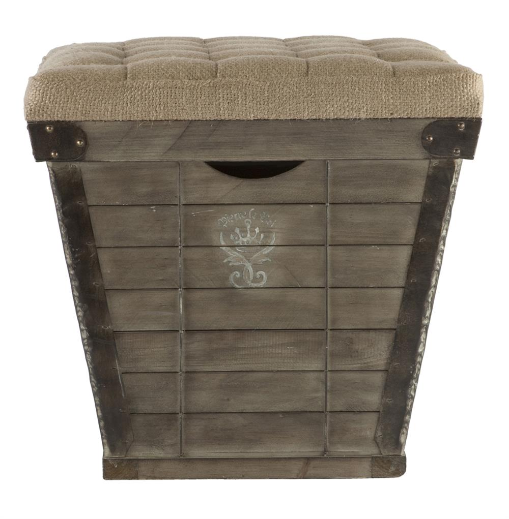 French country cube storage crate with burlap cushion