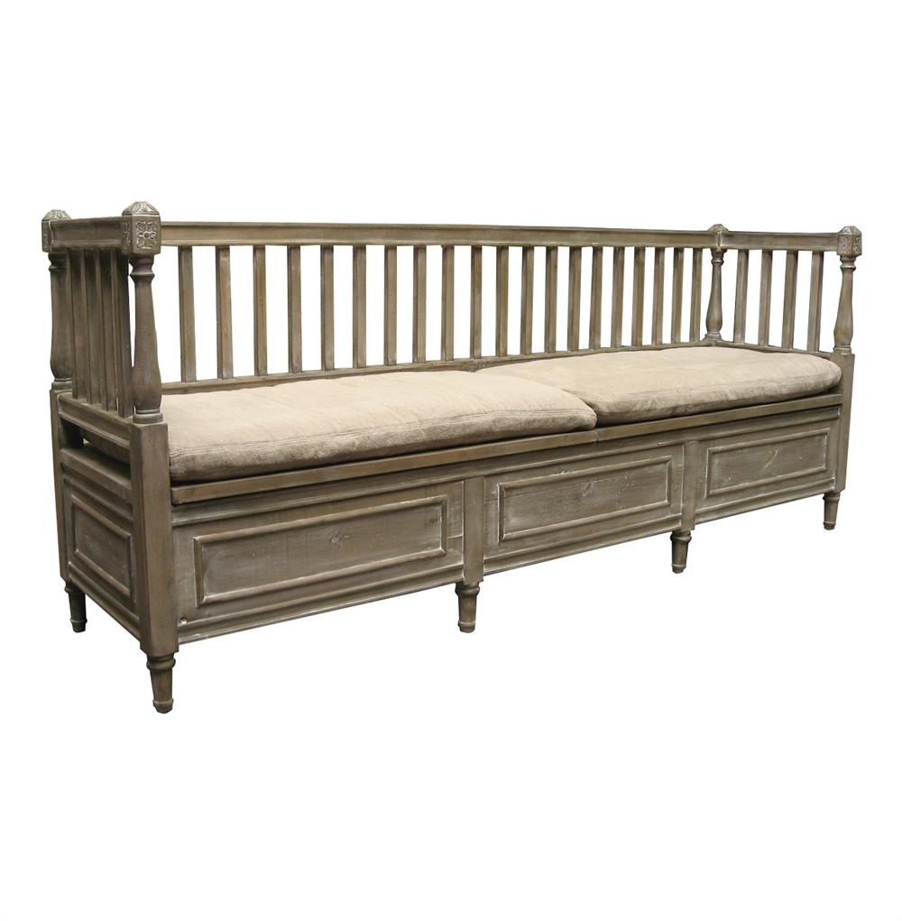 Damita French Country Weathered Gray High Back Storage Bench Sofa Long Kathy Kuo Home