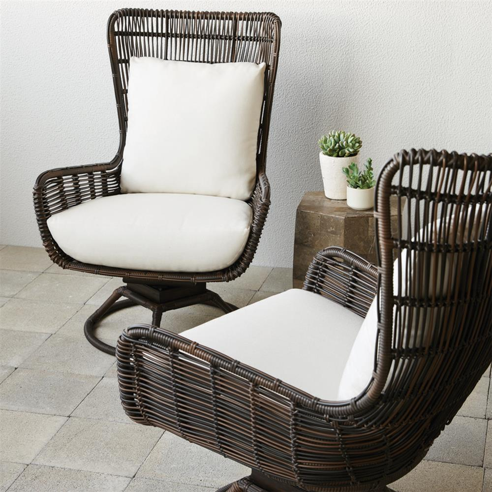 ... Palecek Sorrento Modern Coastal Aluminum Hand Woven Brown Swivel  Outdoor Lounge Chair | Kathy Kuo Home