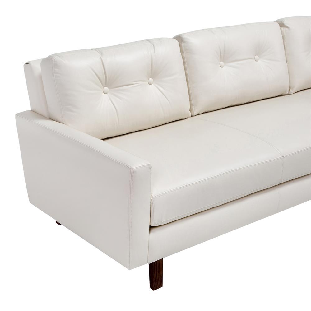 Interlude Aventura Modern Clic Wood Frame Cream Leather Tufted Back Sofa Kathy Kuo Home