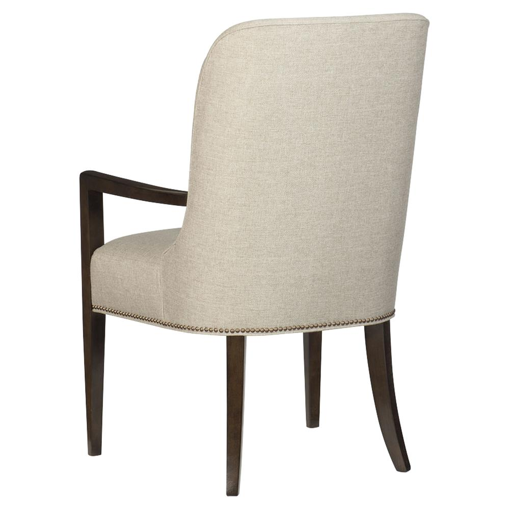 ... Goode Modern Classic Beige Upholstered Mid Century Curved Back Dining Arm  Chair | Kathy Kuo Home ...