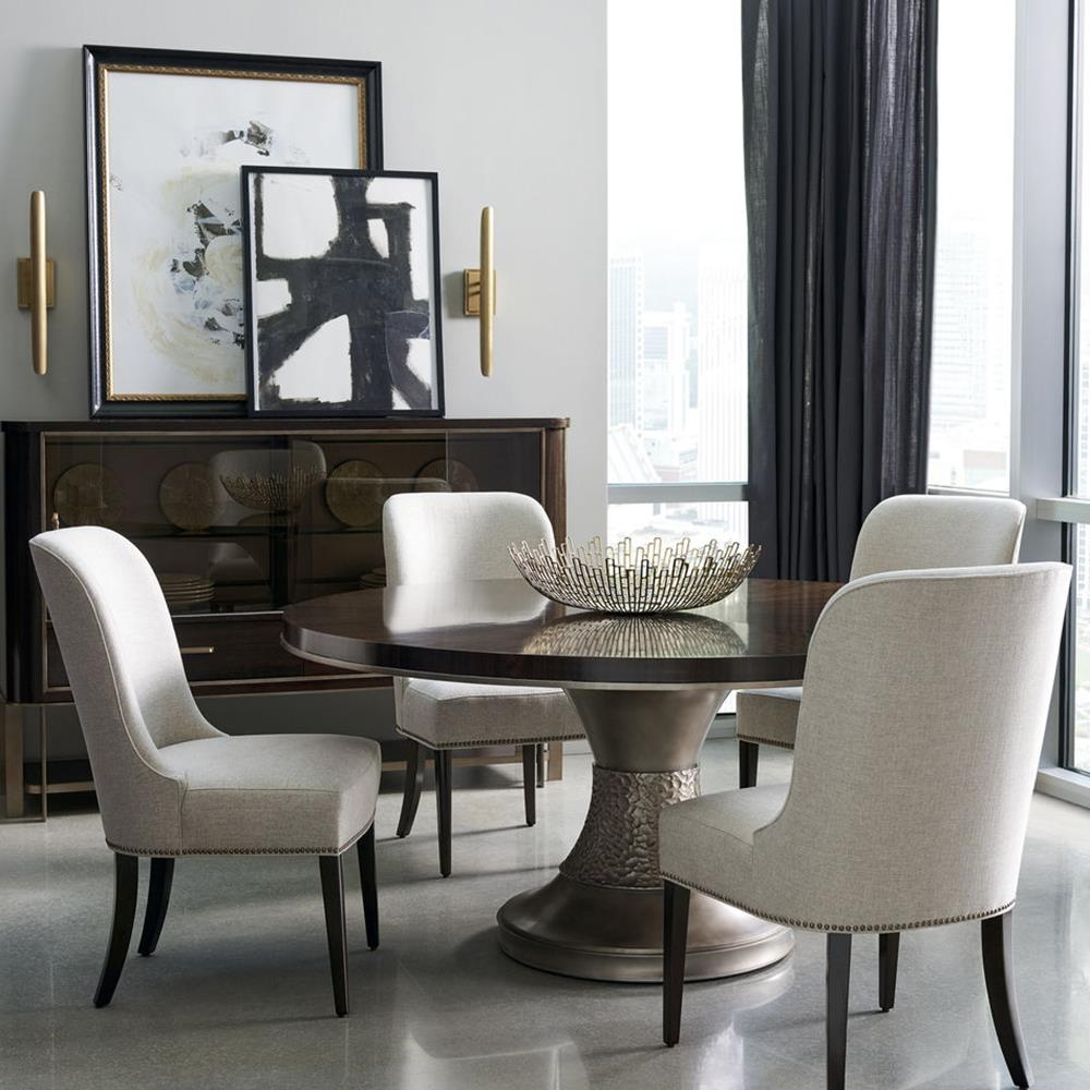 ... Goode Modern Classic Dark Wood Bronze Resin Round Pedestal Dining Table  | Kathy Kuo Home ...