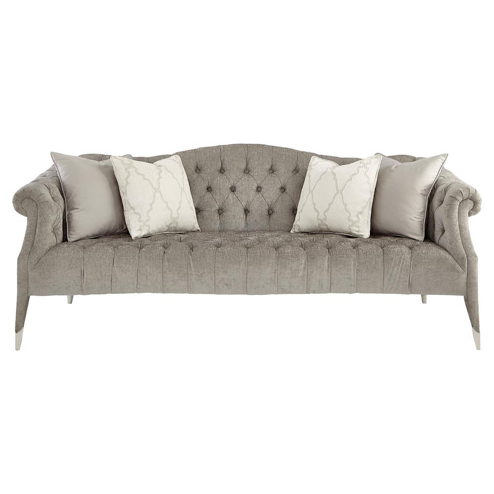 Chenille Skirted Sofa: Camelback Sofa With Skirt