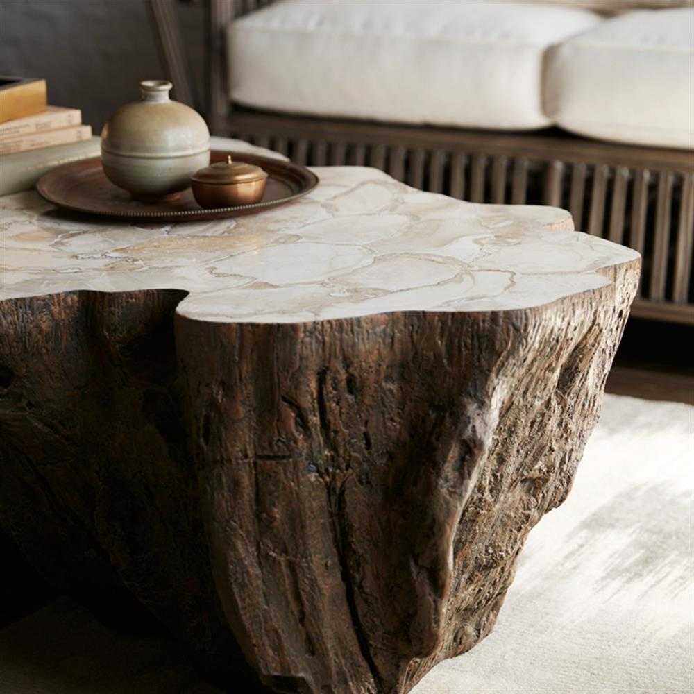 Palecek Chloe Inlaid Fossilized Clam Shell Top Natural Tree Trunk Coffee Table