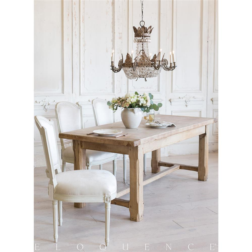 French Dining Room Table: Eloquence French Country Style Antique Dining Table: 1900