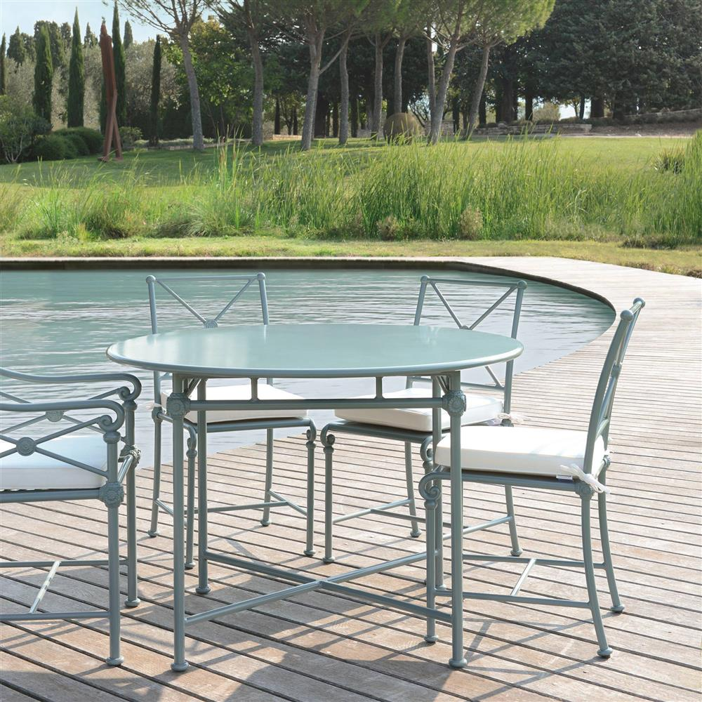 French Country Round Dining Table: Tectona French Country Grey Blue Aluminum Round Outdoor