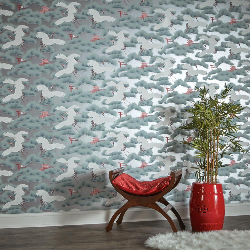 Silver metallic asian toile crane bird removable wallpaper for Metallic removable wallpaper