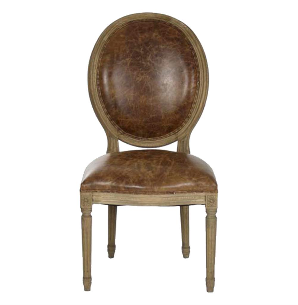 French country louis xvi oval back leather dining side for Leather back dining chairs
